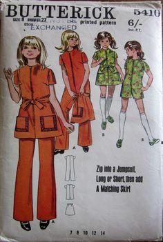 SALE Vintage 1970's Butterick 5410 Jumpsuit Playsuit Skirt Size 8