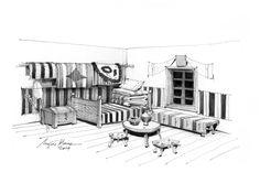 Traditional romanian interior - pencil drawing by Mugur Kreiss