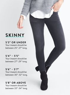 Pair your height with your needed inseam measurements when shopping for jeans. For example, when it comes to skinny jeans, those or taller should look for inseams that are long. The Ultimate Guide To Buying, Wearing, And Caring For Jeans Stitch Fix Blog, Stitch Fix Stylist, Tall Girl Fashion, Petite Fashion, Skinny Jeans Heels, Perfect Jeans, Stitch Fix Outfits, Sweater Shirt, Palette