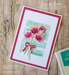 Pink Floral Birthday Card Desing by; Little Paper Party, Jar of Love, Everyday Jar Framelits, CTS Mason Jar Cards, Mason Jar Flowers, Diy Flowers, Birthday Bouquet, Pots, Stampin Up Catalog, Love Stamps, Stampin Up Cards, Altenew Cards