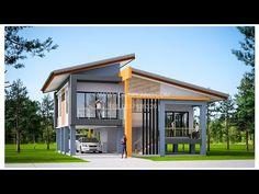 Modern House Colors, Modern Bungalow House, Asian House, Thai House, Small House Floor Plans, Dream House Plans, House On Stilts, House Roof, House Layout Plans