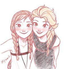 Anna and Elsa Disney Princess Frozen, Disney Princess Drawings, Disney Sketches, Disney Drawings, Disney Princesses, Arte Disney, Disney Fan Art, Disney Love, Disney Films