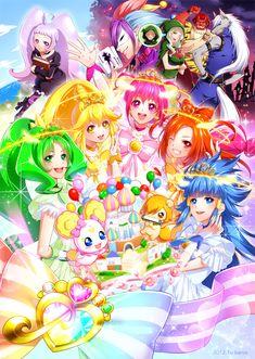 Happy/Miyuki, Sunny/Akane, Peace/Yayoi, March/Nao, Beauty/Reika, Royale Candy/Sweet Royale/Ami/Candy, Pop/Daisuke, Jester/Toshiaki/Joker, Wolfrun, Akaaoni, Majourina, and Nico
