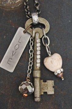 LOVE Vintage Gold Key Necklace by BelleVia on Etsy, $34.00