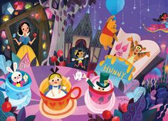 Mural for Disney Tokyo Celebration Hotel by Joey Chou - Closeup # 1 Disney Pixar, Disney Amor, Disney And Dreamworks, Disney Animation, Disney Love, Disney Magic, Disney Parks, Walt Disney, Disney Artwork