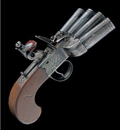 A RARE 40-BORE FLINTLOCK FOUR-BARRELLED 'DUCKSFOOT' PISTOL SIGNED ''SHARPE & KEENE', LONDON' , MODEL 'SEAWITCH',ca 1800.