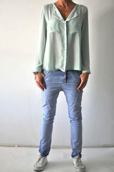 baggy please broek model blauw