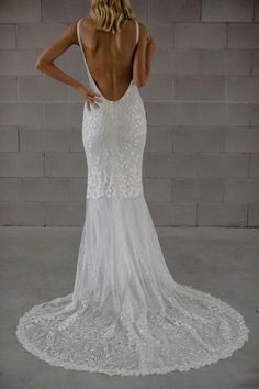 Georgie by Made with Love now available for purchase via Covet Bridal! Super sexy Italian sequined lace gown featuring an entirely open back. Size Can be altered down at least 3 sizes Kate Wedding Dress, Luxury Wedding Dress, Wedding Dress Shopping, Wedding Dresses, Budget Bride, Designer Gowns, Bridal Collection, Bridal Gowns, Lace Dress