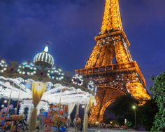 Eiffel Tower carousel - vintage Paris photo at night deep colors dreamy nostalgic shabby chic - Paris in the Heart. $30.00, via Etsy.