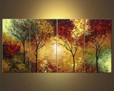 """Landschaft von blühenden Bäumen Gemälde Original abstrakt moderne Acryl von Osnat - Bestellung - 60 """"x 30"""""""