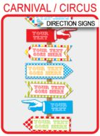 Carnival Party Directional Signs – Arrows – colorful
