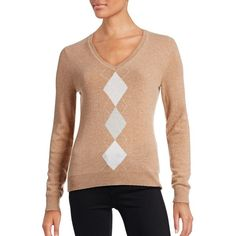 Lord & Taylor Petite Argyle Cashmere Sweater ($60) ❤ liked on Polyvore featuring tops, sweaters, classic camel heather, petite, cashmere v-neck sweater, pure cashmere sweaters, v-neck sweater, long sleeve tops and preppy sweaters