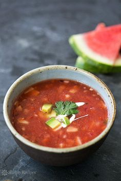 Watermelon Gazpacho Recipe on SimplyRecipes.com Cool and light, perfect for a hot day. #vegan #paleo