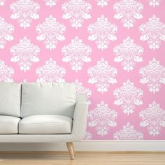 Large Scale Pink Damask - Spoonflower Paper Clip Art, Pink Damask, Color Harmony, Digital Papers, Handmade Home Decor, Custom Fabric, Spoonflower, Love Seat, Craft Projects