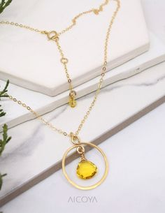 9d6144995 Dainty Open Circle Pendant, Citrine hoop Gemstone Necklace, Gold November  Birthstone jewelry, Adjustable Simple Hammered Eternity Necklace