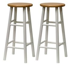 Winsome Wood Set of 2 White/Natural Bar Stool at Lowe's. Upgrade the decor of your room with these Tabby beveled seat bar stools. Crafted of sturdy solid wood with a natural wood seat and white frame, this set Wood Counter Stools, Kitchen Stools, Bar Counter, Kitchen Nook, Kitchen Ideas, Bar Kitchen, Wooden Counter, Counter Space, Counter Tops
