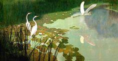 'Herons in Summer' by N.C. Wyeth by Plum leaves, via Flickr
