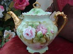 Lefton Heritage Rose Teapot Large 5 Cup Green Mint
