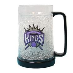 Sacramento Kings Freezer Mug features a black handle and bottom and a Kings primary full color logo on each side.is the perfect way to enjoy an ice cold beverage during the game.  The mug freezes in 2-4 hours and then you can enjoy your cold beverage(s) for hours.