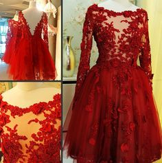 2017 Custom Charming Prom Dress,Appliques Prom Dress,Long-Sleeves Prom Dress,Tulle prom Dress,A-Line Evening Dress A Line Evening Dress, Formal Evening Dresses, Formal Prom, Dress Formal, Tulle Prom Dress, Homecoming Dresses, Party Dress, Wedding Dresses, Bridal Gowns