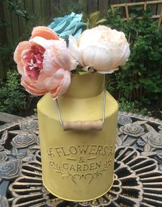 Galvanized Metal Large Milk Churn Hand Painted Sunny Yellow With Light Aged Distressed Effect