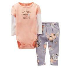 "Carter's ""Hey There Sweetie"" Bird & Floral Bodysuit & Pants Set - Baby"