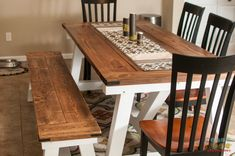 Weathered Gray — Farmhouse Truss table and Benches . Plans courtesy...
