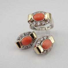 Free Shipping Coral silver ring Handcrafted 925 Silver &