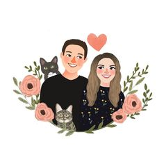 Creating lovely illustrations for your loved ones. by RiaDesignStore Wedding Illustration, Family Illustration, Portrait Illustration, Digital Illustration, Graphic Illustration, Couple Drawings, Art Drawings, Cute Couple Art, Moleskine