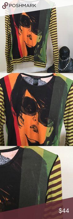 "🙎🏻💃🏻🕶🕶CUSTO BARCELONA🙎🏻🕶🕶💃🏻GIRL top CUSTO BARCELONA Gr8 design ...... girl w 🕶 on a multicolored fun background. RETRO FUN. See measurments ....18 3/4"" UA -UA ......21 3/4"" T-B Custo Barcelona Tops"