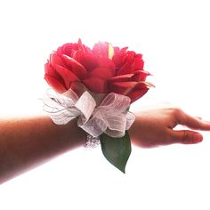 Red Peony and Silver Wrist Corsage | Prom Season | Red Prom