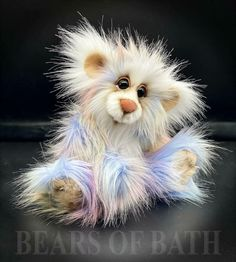 Pink Quill a 10-11 inch Capability Artist Bear by Carol's Bears of Bath #BearsofBath Royal Blue And Gold, Foot Pads, Quilling, How To Introduce Yourself, Sculpting, Pattern Design, Bears, Owl, Teddy Bear