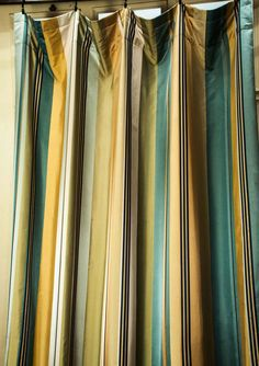 Hollywood Regency style Blue Spring Faux Silk Stripe Rod Pocket curtain panels