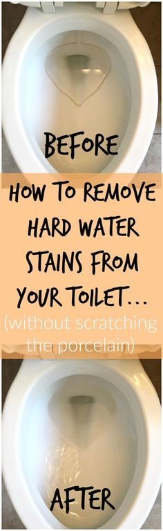 How to Remove Hard Water Stains from Toilets (without scratching the porcelain!) Do you know how to remove hard water stains from toilets? This quick and easy trick will clean up those hard water stains in just minutes WITHOUT scratching the porcelain. Household Cleaning Tips, Toilet Cleaning, Cleaning Recipes, House Cleaning Tips, Deep Cleaning, Spring Cleaning, Cleaning Hacks, Bathroom Cleaning, Diy Hacks