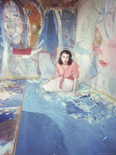 Painter Helen Frankenthaler Sitting Amidst Her Art in Her Studio, by Gordon Parks - from LIFE MAGAZINE 1957