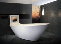 A rather normal free standing bathtub with a not so normal television attached to it. Enjoy your favorite TV shows with this conventional and modern tub design.