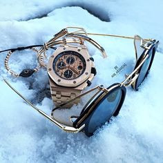 Today's snow accessories. Audemars Piguet X Thom Browne sunglasses from @maganijewels X Anil Arjandas Jewels. Have a great rest of your day!!!
