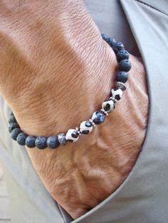 Men's Minimalist Spiritual Healing, Protection, Strength Bracelet- Semi Precious Tibetan Agate, Black Lava, Gunmetal Beads - Yoga Bracelet by tocijewelry on Etsy