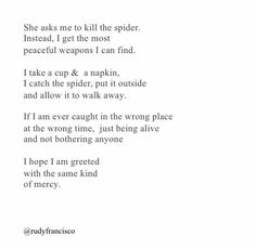 when asked to kill a spider . allow it to walk away Poem Quotes, Words Quotes, Wise Words, Life Quotes, Sayings, Success Quotes, Career Quotes, Pretty Words, Beautiful Words