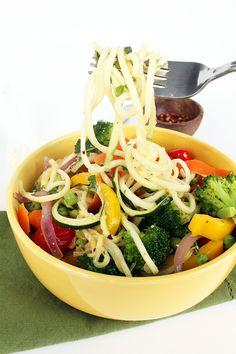 Zucchini Pasta Primavera (Spiralized). So freaking good! Served with grilled chicken