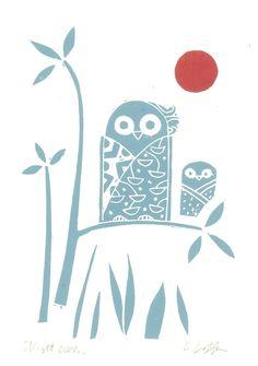 Owls Linocut Original Print Teal Red Giuliana Lazzerini