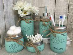 Mason Jar Bathroom Vanity Set / Set of 5 Jars / Seaglass Painted Mason Jars