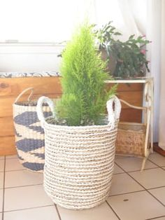 Charming form meets handy function in our small Bianca basket, handwoven in Indonesia of seagrass in a chic white and natural striped design. Bamboo Basket, Stripes Design, Hand Weaving, Hampers, Hand Knitting, Weaving