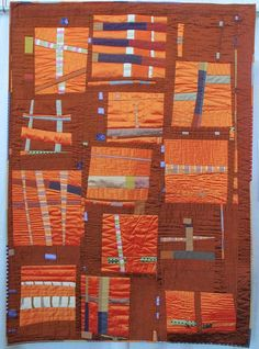 Silk Arithmetic by Stacey Sharman - try cutting up silk ties for strips to combine with dupioni pieces