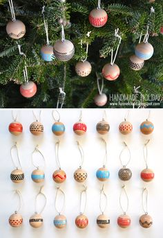 DIY: Painted Wood Ball Ornaments