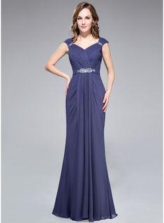 Trumpet/Mermaid V-neck Floor-Length Chiffon Evening Dress With Ruffle Beading