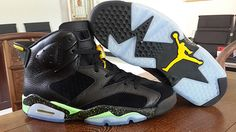 Nike Air Jordan Retro 6 AJ6 Basketball Shoes Men Black Snake Green Brazil World Cup