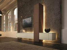 Wohnwand modern hülsta  but needs lighting on the art pieces on display. [NEO Storage wall ...