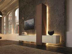 Wohnwand modern hülsta  but needs lighting on the art pieces on display. [NEO Storage wall ...