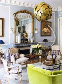 Eclectic living room in a glamorous Paris apartment via Love the green velvet & cobalt shade Eclectic Living Room, Eclectic Decor, Living Room Decor, Living Spaces, Living Rooms, Paris Flat, Moldings And Trim, Beautiful Interior Design, Paris Apartments